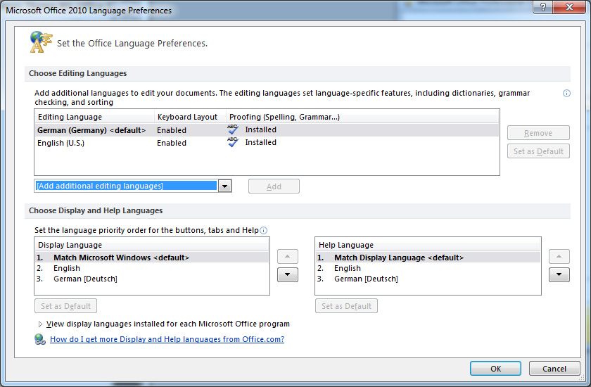 Language Settings in Microsoft Word 2010 Edition